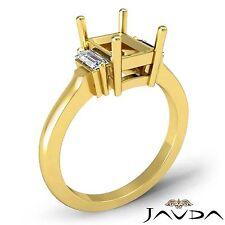 3Stone Diamond Baguette Emerald SemiMount Engagement Ring 14k Yellow Gold 0.25Ct