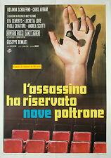 manifesto 2F film L'ASSASSINO HA RISERVATO NOVE POLTRONE Giuseppe Bennati 1974
