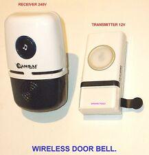DOOR BELL CORDLESS AC 240V UNIT 12V TRANSMITTER 48 TUNES SELECTABLE-BRAND NEW