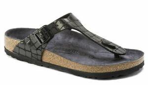 BIRKENSTOCK Gizeh 1016420 Gator Gleam Black Schwarz normal Weite Damen Sandale