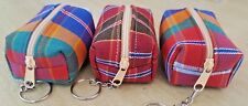 Thai handcraft fabric mini coin bag zipper keyring keychain Local Souvinir gift