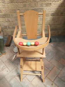 Vintage (1960s/70s) Wooden convertible Dolls High Chair