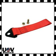 JDM Red High Strength Sports Racing Tow Strap Set Front Rear Bumper Towing Hook