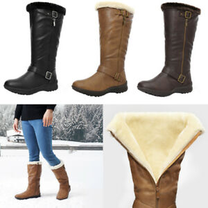DREAM PAIRS Womens Knee High Warm Fur Winter Zip Snow Boot Shoes Size 5-11 US