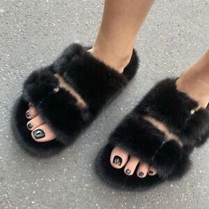 Full Covered Real Mink Fur Slides Women's Slippers Beach Summer Sandels Shoes