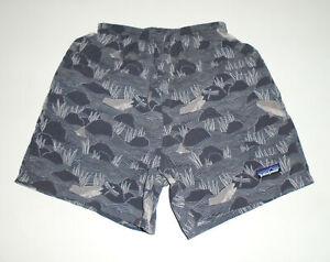 """PATAGONIA 4"""" Swim Suit Trunks GRAY FISH Print Vtg Baggies Shorts Mens NEW : XS"""