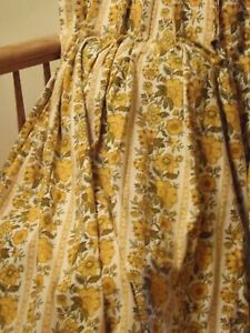 2 Custom Retro Yellow Vintage Waverly Schumacher Yellow  Pleated  Curtain Drape