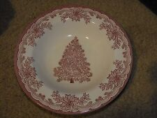 "Staffordshire Engravings Yuletide Design Red 8.5"" Soup Bowl Christmas Tree"
