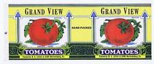 Grand View, tomatoes, can label, W G Lucas & Sons Warfordsburg PA