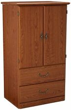 Wardrobe Armoire Bedroom Furniture Discount Storage 2 Drawer Oak Finish Wood New