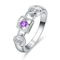 Exquisite Fashion Round Cut Amethyst White Topaz Gemstone Silver Ring Size 6-9