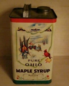 Vintage Pure Maple Syrup Advertising Tin 1 Gallon Can