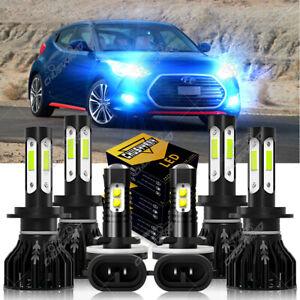 For 2012-2017 Hyundai Veloster 8000K LED Headlight High/Low+ Fog Light Bulbs Kit