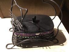Longaberger 2009 Wrought Iron Halloween Black Cat Basket Protector Liner Lid