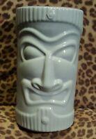 "Vintage Blue Ceramic Tiki Bank C.N. Burman & Co. 9"" x 5 1/8"" Diameter"