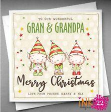 Personalised Christmas Card Gran and Grandad Nana & Grandpa ,Elf Elves Kids Cute