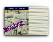 Queen Quilt Cover & 2 Pillow Cases Set Blue Stripe 250 thread count Poly Cotton