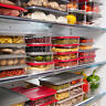 Set of eConcept BPA Free Airtight Acrylic Food Fridge Container Storage Red Lid