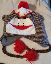 Classic SOCK MONKEY Winter Snow Pilot Hat Lined Laplander Toboggan Adult Teen Sz