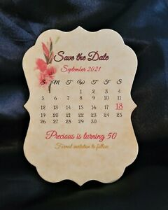 50 Floral Flower Calendar Wedding Shower Party Event Save The Date Cards