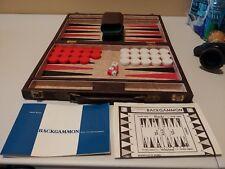 vintage backgammon set leather case red & black