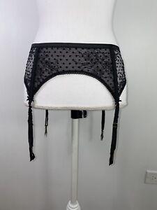 Victoria's Secret Dream Angels Lingerie Lace Sheer Garter Belt  Black  M/L  NWT