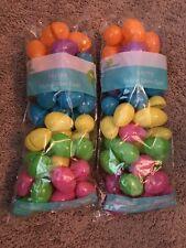 96 Bulk Plastic Easter Basket Eggs Multi color bright Fillable empty lot filler