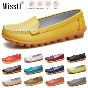 Womens Leather Loafers & Slip-Ons Flats Driving Walk Casual Moccasins Soft Shoes