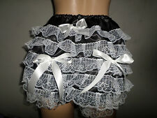 ADULT BABY SISSY FRENCH MAID BLACK SATIN WHITE LACE TRIM PANTIES BOWS 30-45 W