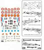 "1:72 Dassault Breguet Mirage III E/C  ""C3D Decals"" France, Spain, Israel"