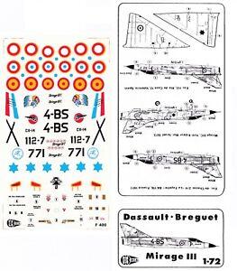 """1:72 Dassault Breguet Mirage III E/C France, Spain, Israel """"C3D Decals"""""""