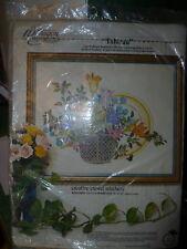 Vintage Paragon Needlecraft Kit Tableau Flowers in Wicker Basket 1976 Nip Sealed