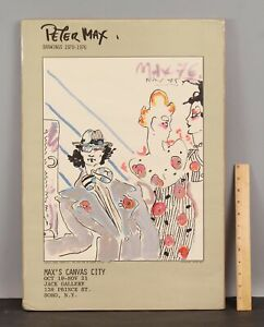 RARE 1976, PETER MAX, Signed Painting on Serigraph Poster, Maxs Canvas City