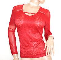 Chemise voilé ROUGE  à manches longues femme maillot dentelle brodée strass G34