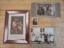 Vintage antique family photos 1900, Communion certificate-record Austria