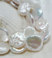 "Natural Fresh Water Biwa Pearl Coin Disc Bead Strand White 10 MM 16"""