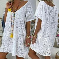 Ladies Women's Lace Short Sleeve V-Neck Sexy Casual Print Short Beach Dress