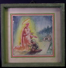 Gemälde Schutzengel - Hl. Franziskus schützt Knaben vor Auto -  Fritz Putz 1940
