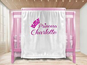 Personalised Baby Girl Gift Throw Blanket Keepsake Ivory