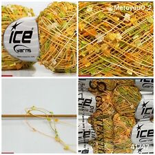 ICE MINI BUTTERFLY Knitting Wool Green Gold Cream 1 Ball. Ref 41747