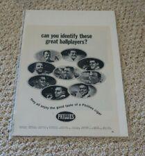 """1964 Phillies, Phillies Cigar add, Bunning, Allen, Callison + 13 1/2' x 10 1/2"""""""