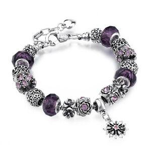 Authentic Silver Beaded Bracelet European Purple Charm 925 Sterling Star Pendant