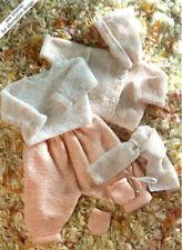 "Easy Baby Garter Stitch Layette Blanket Jacket Hood 14""- 20  DK Knitting Pattern"