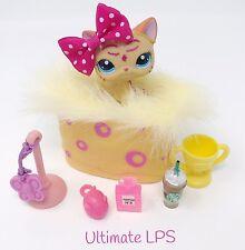 Littlest Pet Shop LPS Lot Yellow Pink Cat Glitter Sparkle #2118 & Accessories
