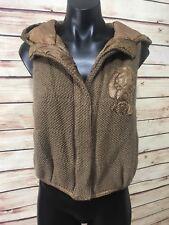 C.X.Q Womens Size 38/US 8 Brown Knit Vest Dog Graphic Magnetic Close Hood Unique