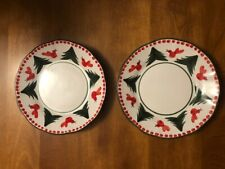 """NWT Vietri Uccello Rosso two 8"""" Salad Plate Made in Italy Earthenware"""