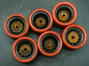 LOT OF 6 MATCHING POWELL PRIMO DEANO VINTAGE ROLLER SKATE SKATEBOARD WHEELS (T2)