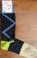 Corgi Mens Cotton Socks Size Large Wide Zigzag Black Made in Wales Medium Thick