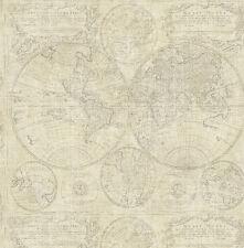Tapete, Designtapete, antik, Weltkarte, Sackleinen, Schimmer, Sand, Grau