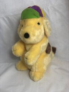 "Eden Plush Spot The Dog Standing Yellow Brown Puppy Dog 11"" 1993 Rainbow Cap Hat"